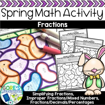 Easter / Spring Math Color by Number Bundle - Differentiated Variety of Skills