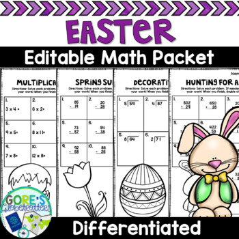 Easter Math Worksheets - Basic Operations - Differentiated and Editable