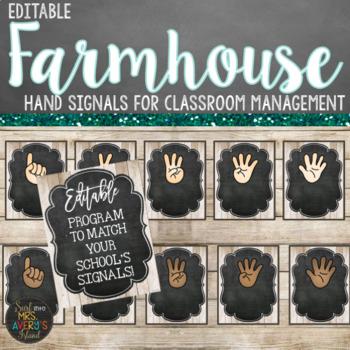 Hand Signal Posters - Editable Farmhouse Theme