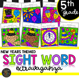 Fifth Grade New Years Color by Code Sight Word Activities