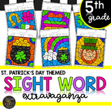 Fifth Grade Sight Word Activities Color by Code March St. Patrick's Day