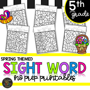 Fifth Grade Sight Word Activities Color by Code Spring Activities