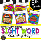 Fifth Grade Sight Words Color by Code Thanksgiving Activities for November