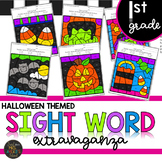 First Grade Sight Word Activities Halloween Theme Color by Code Printables
