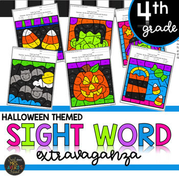 Fourth Grade Halloween Themed Color by Code Sight Word Activities