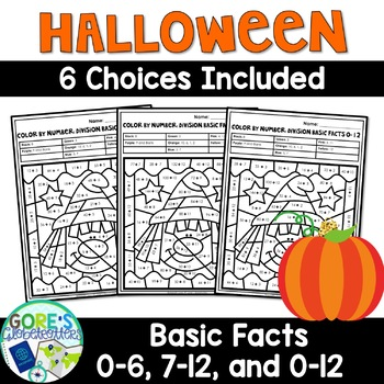 October and Halloween Math Worksheets - Differentiated Division