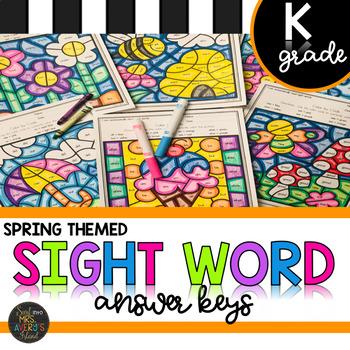 Kindergarten Sight Word Activities Color by Code Spring Activities