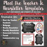 Meet the Teacher and Class Newsletter Templates - Editable Red Chalkboard