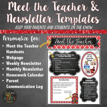 meet the teacher and class newsletter templates editable red