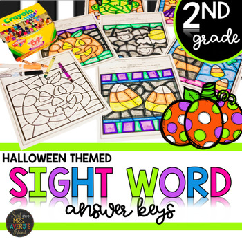 Second Grade Halloween Themed Color by Code Sight Word Activities