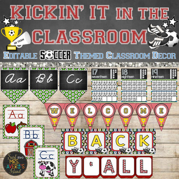 Soccer Classroom Decor Bundle Editable