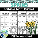 Spring Math Worksheets - Differentiated and Editable
