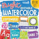 Watercolor Brights Classroom Decor Set | Editable