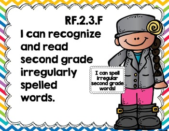 """Second Grade Common Core ELA """"I Can"""" Posters {Kiddos Rainbow Brights Edition}"""
