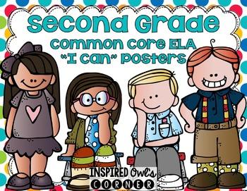 """Second Grade Common Core ELA """"I Can"""" Posters {Kiddos Rainb"""