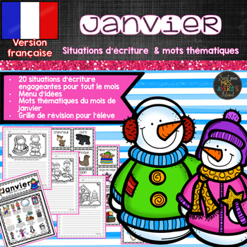 French Writing Prompts Activités d'écriture de janvier