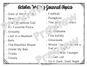 October Monthly Writing Journal