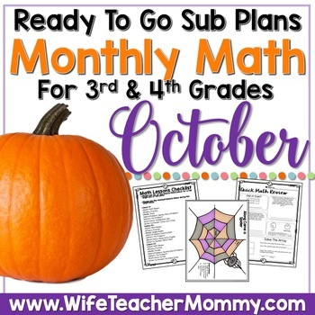October Sub Plans Math for 3rd, 4th Grades. Halloween Activities