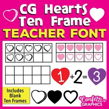CG Hearts Ten Frame Teacher Math Font -  Make 10 -  Valentine's Day