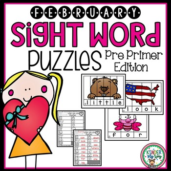 February Sight Word Puzzles {Pre Primer}