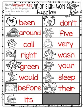 January Sight Word Puzzles (2nd Grade)