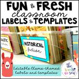 Llama Classroom Decor: Editable Labels and Templates