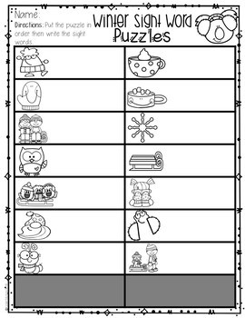January Sight Word Puzzles {Primer}