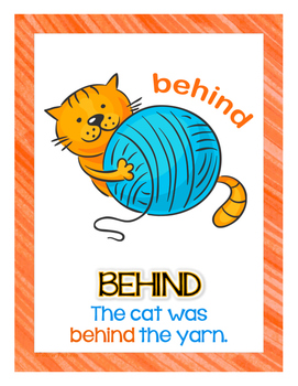 Positional Words Posters: Cats