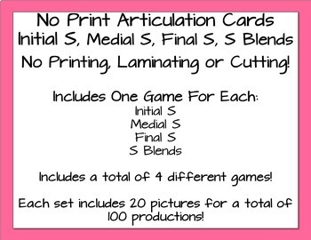 No Print Articulation Flash Cards - S & S Blends