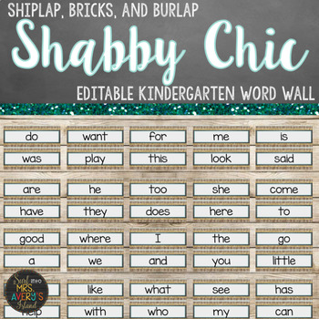 Editable Farmhouse Kindergarten Word Wall