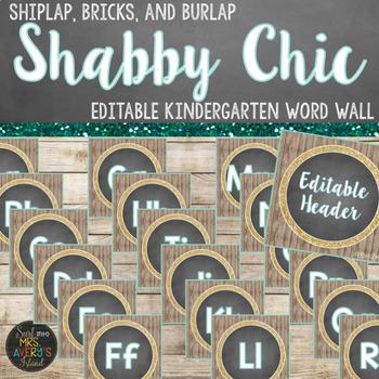 Kindergarten Word Wall - Editable Farmhouse Theme