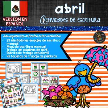 Spanish April Writing Prompts and Word Work