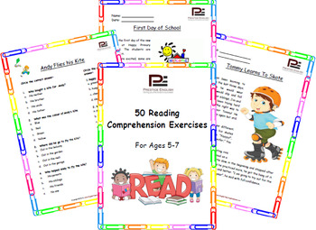 """""""50 Reading Comprehension Exercises for Ages 5-7"""" SAMPLE - FREEBIE"""