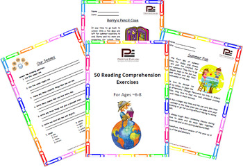 """""""50 Reading Comprehension Exercises for Ages 6-8"""" SAMPLE - FREEBIE"""