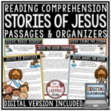 Digital Bible Stories of Jesus Reading Comprehension Passages & Questions