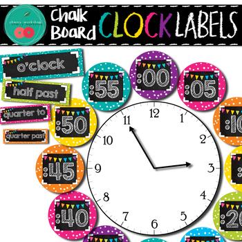 Chalkboard Clock Labels