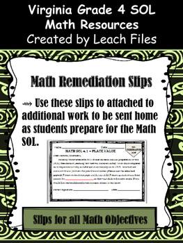 Grade 4 Math VA SOL Remediation Slips
