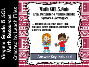 Grade 5 Math VA SOL 5.8ab Squares & Rectangles Bundle