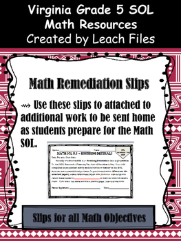Grade 5 Math VA SOL Remediation Slips