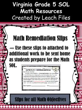 Grade 5 Math VA SOL Remediation Slips