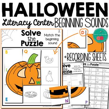 Halloween Literacy Center Beginning Sounds