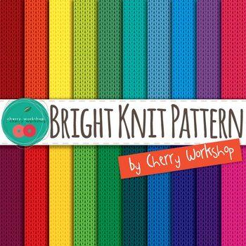 Knit Pattern Brights Digital Paper