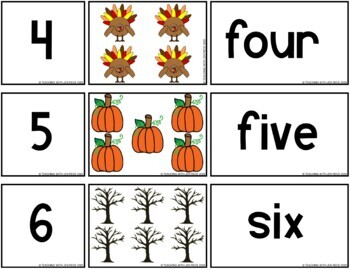 Fall Math: 1-20 Matching Number Word Cards/Puzzles