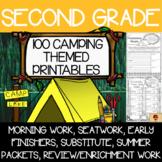 100 Second Grade Camping Theme No Prep Language, Reading, Writing, & Math Work