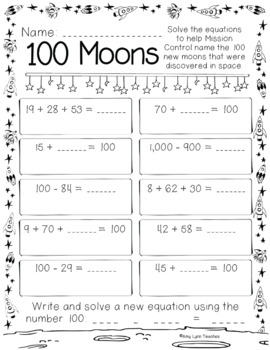 100th Day of School Space Themed {Second Grade}
