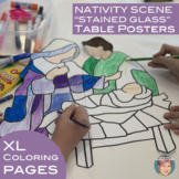"""Christian Christmas Nativity Scene """"Stained Glass"""" Colorin"""