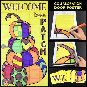 """Fall Door """"Welcome to our Patch"""" Collaboration Poster - Fun Pumpkin Activity!"""