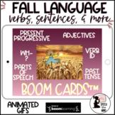 Fall Language Boom Cards™ in GIFS Verbs, Present Progressive, Parts of Speech