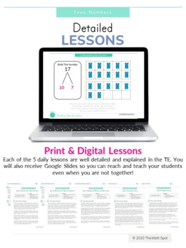 Teen Numbers Unit Print And Digital Math Intervention Unit for Distance Learning
