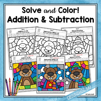 Groundhog Day Addition and Subtraction Color by Code